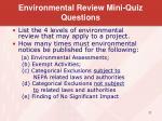 environmental review mini quiz questions