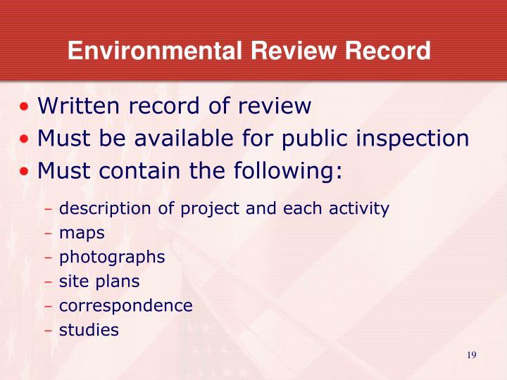 Environmental Review Record