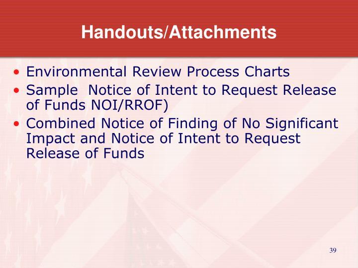 Handouts/Attachments
