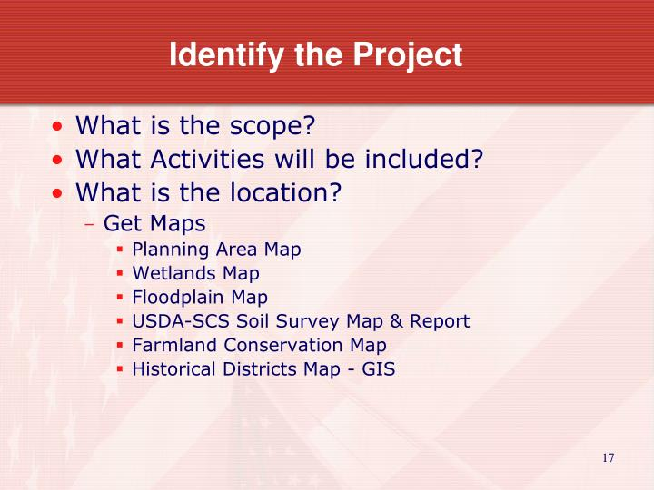 Identify the Project