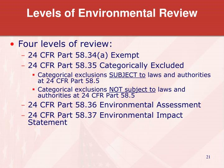 Levels of Environmental Review