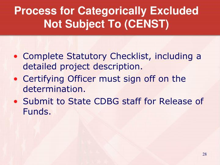 Process for Categorically Excluded