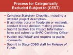 process for categorically excluded subject to cest