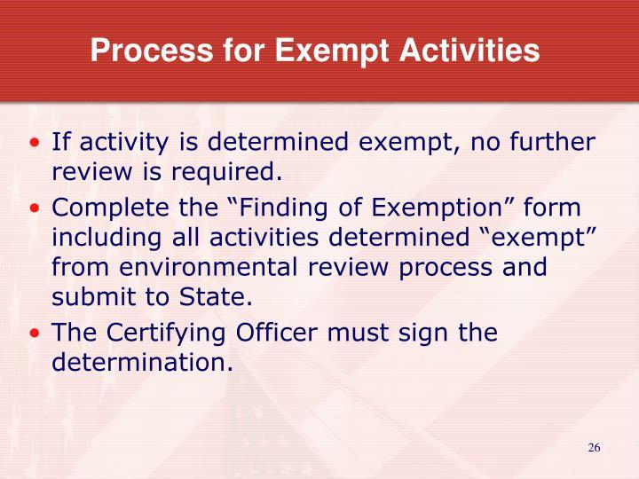 Process for Exempt Activities