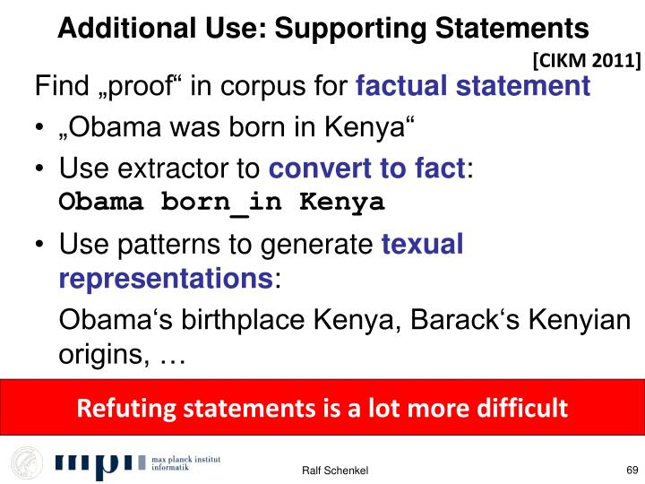 Additional Use: Supporting Statements