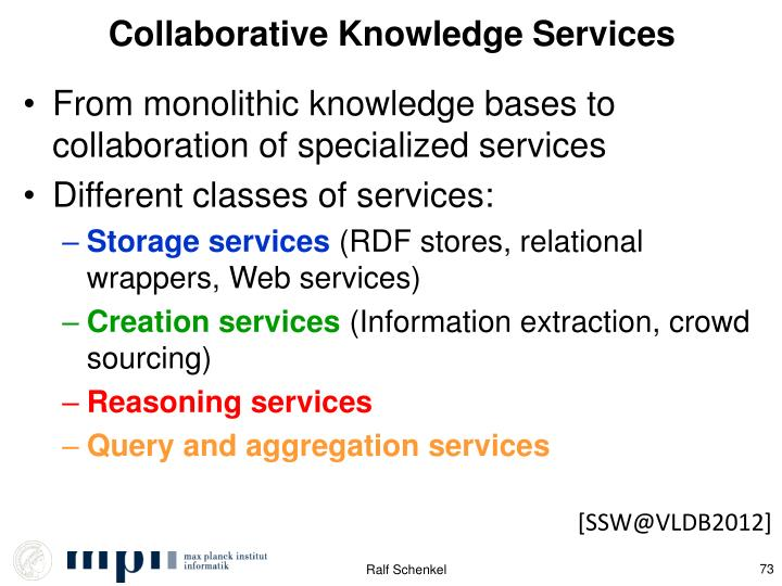 Collaborative Knowledge Services