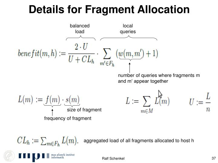 Details for Fragment Allocation