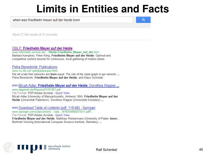 Limits in Entities and Facts