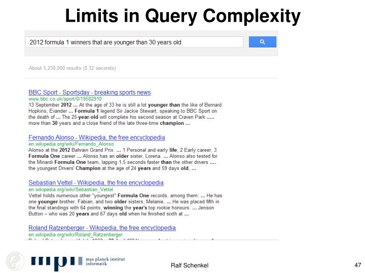 Limits in Query Complexity