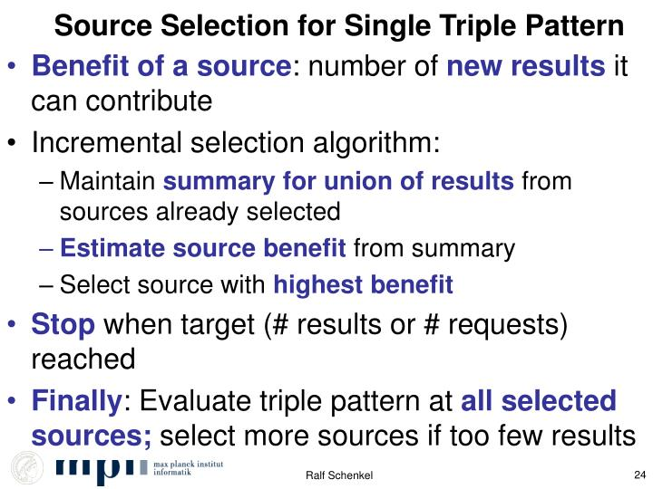 Source Selection for Single Triple Pattern