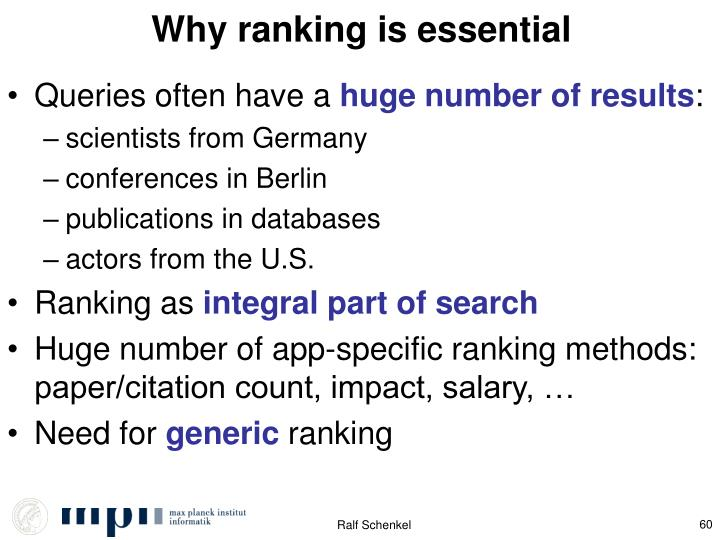 Why ranking is essential