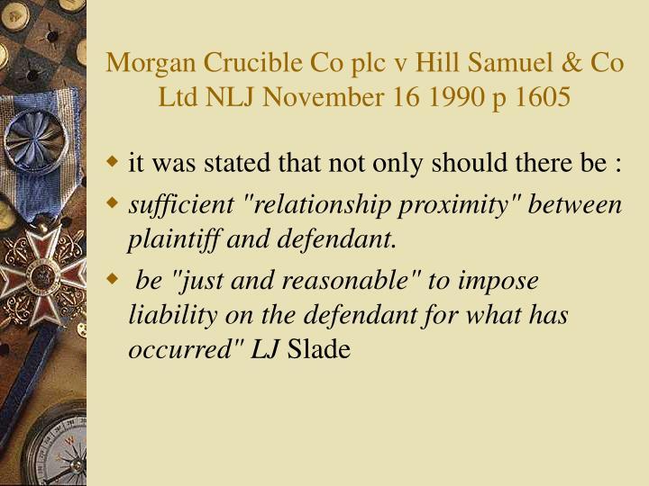 Morgan Crucible Co plc v Hill Samuel & Co Ltd NLJ November 16 1990 p 1605