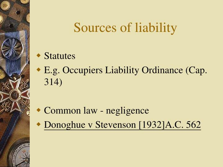 Sources of liability
