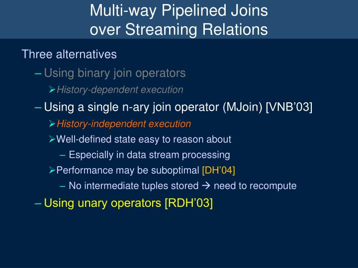 Multi-way Pipelined Joins
