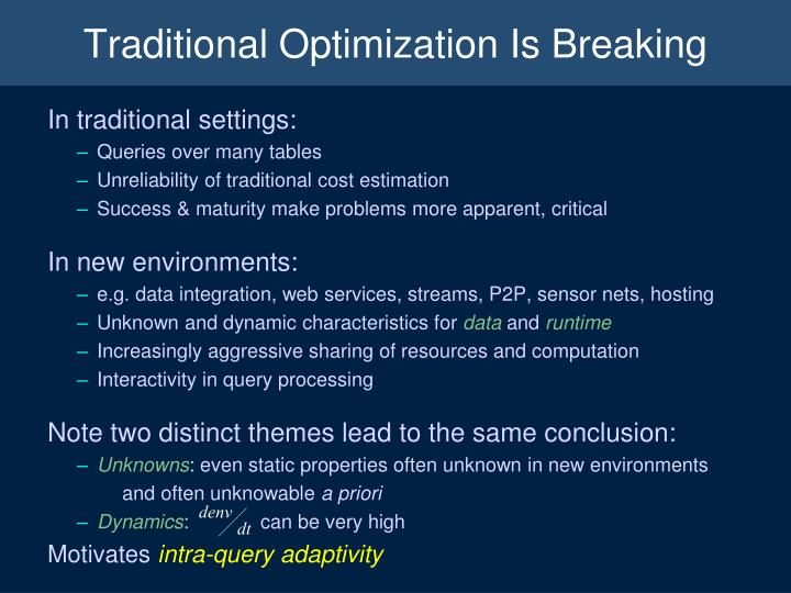 Traditional Optimization Is Breaking