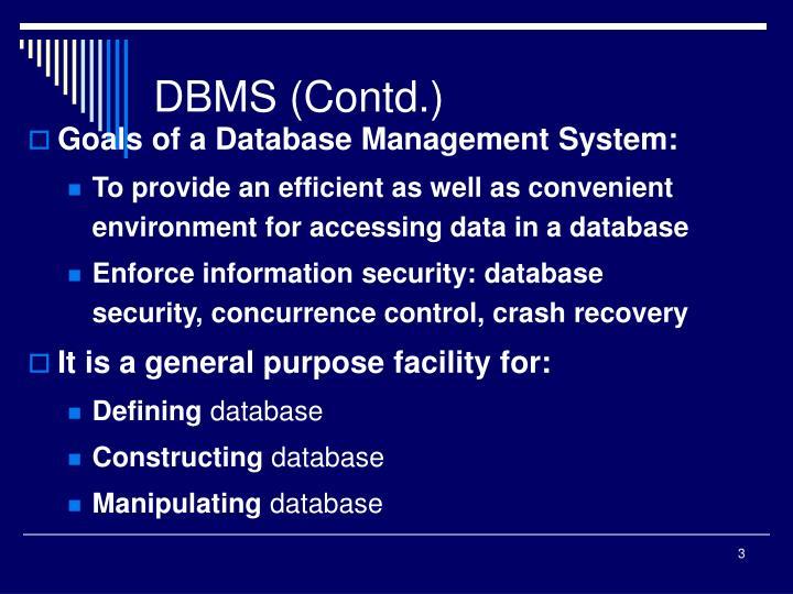 DBMS (Contd.)