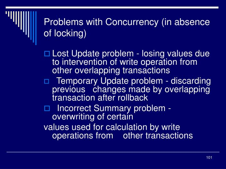 Problems with Concurrency (in absence of locking)