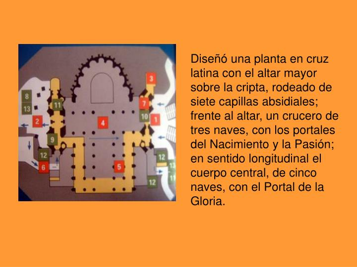 Diseñó unaplanta encruz latinacon elaltar mayor sobre la cripta, rodeado de siete capillasabsidiales; frente al altar, uncrucero de tres naves, con los portales del Nacimiento y la Pasión; en sentido longitudinal el cuerpo central, de cinco naves, con el Portal de la Gloria.