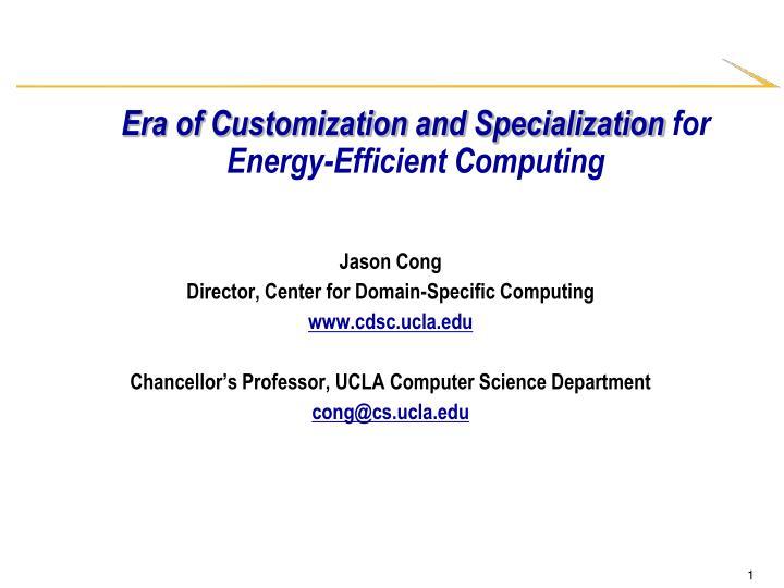Era of Customization and Specialization