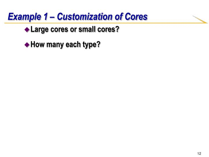 Example 1 – Customization of Cores