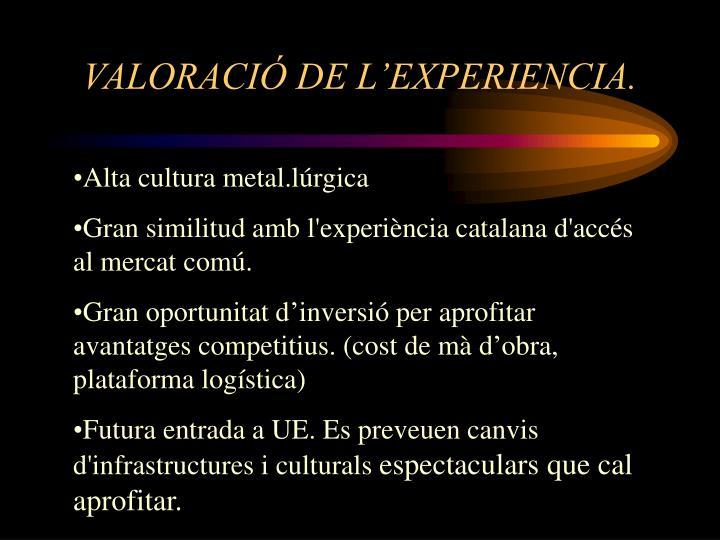 VALORACIÓ DE L'EXPERIENCIA.