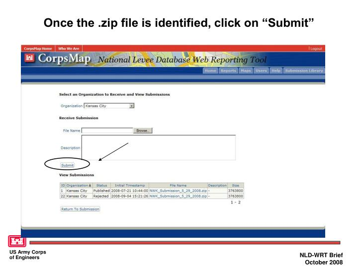 "Once the .zip file is identified, click on ""Submit"""