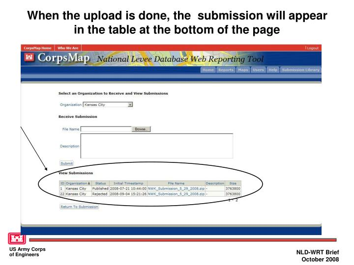 When the upload is done, the  submission will appear in the table at the bottom of the page