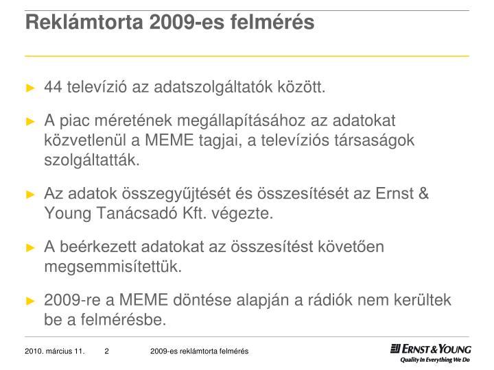 Reklámtorta 2009-es felmérés