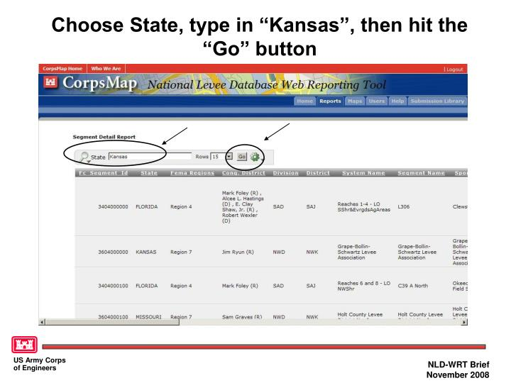 "Choose State, type in ""Kansas"", then hit the ""Go"" button"