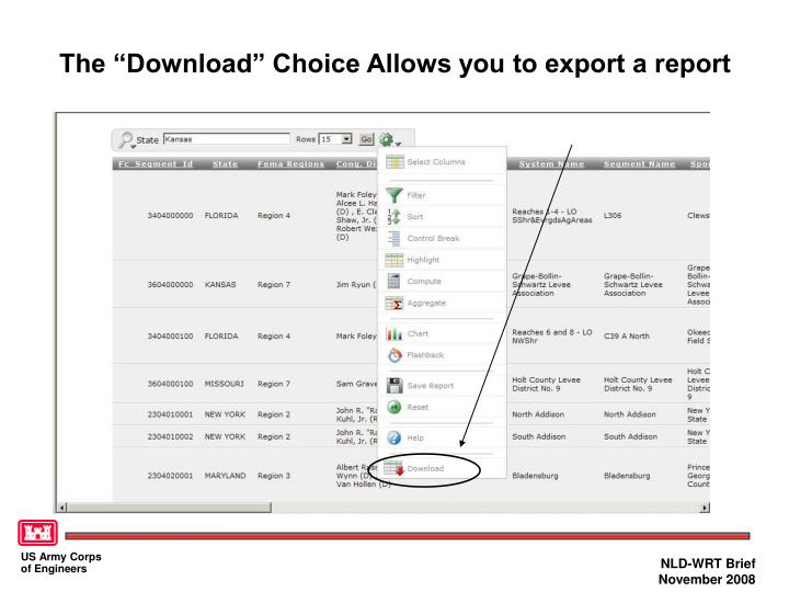 "The ""Download"" Choice Allows you to export a report"