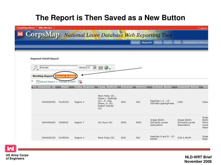 The Report is Then Saved as a New Button