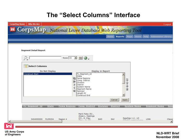 "The ""Select Columns"" Interface"
