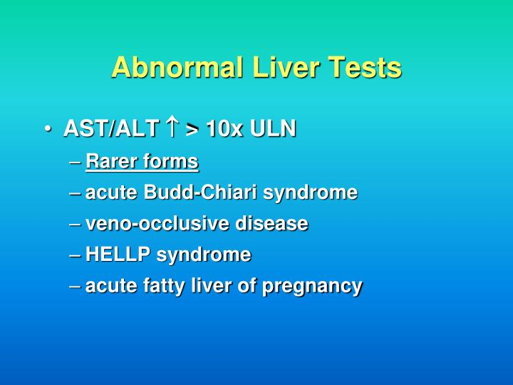 Abnormal Liver Tests