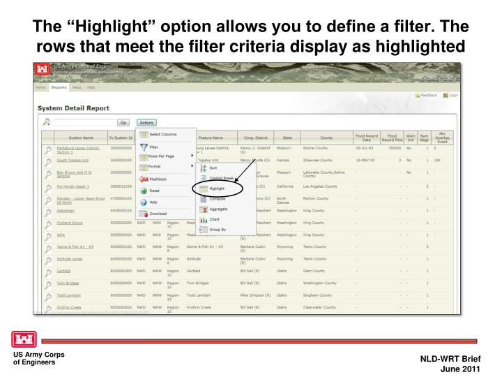 """The """"Highlight"""" option allows you to define a filter. The rows that meet the filter criteria display as highlighted"""