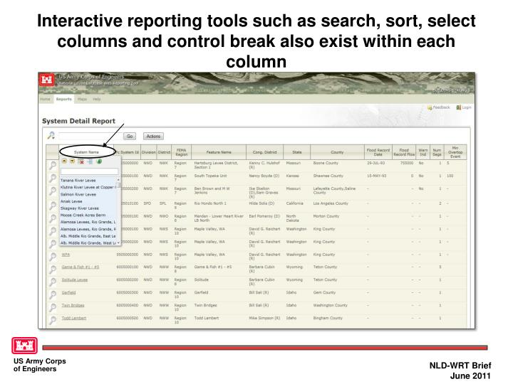 Interactive reporting tools such as search, sort, select columns and control break also exist within each column