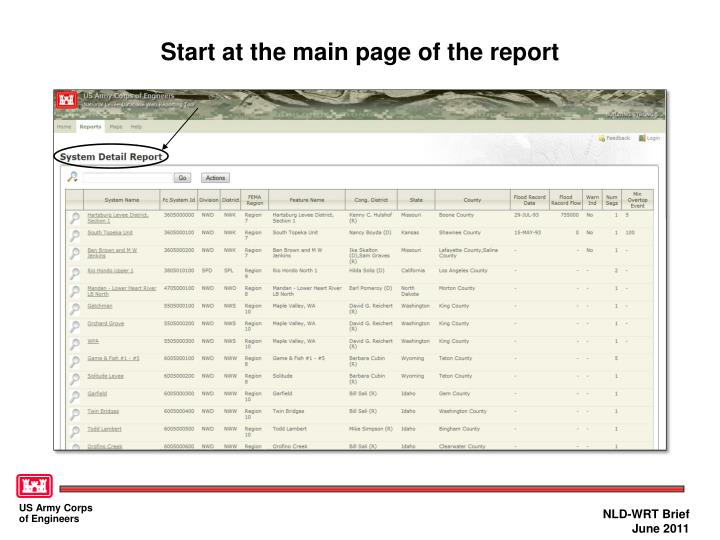 Start at the main page of the report