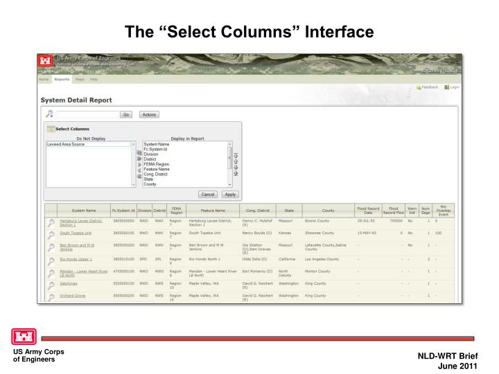 """The """"Select Columns"""" Interface"""