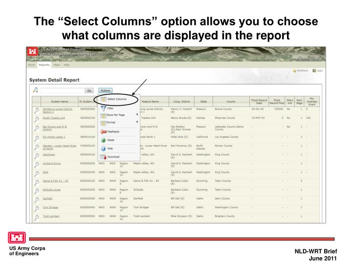 """The """"Select Columns"""" option allows you to choose what columns are displayed in the report"""
