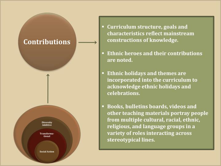 Curriculum structure, goals and characteristics reflect mainstream constructions of knowledge.