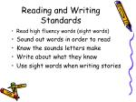 reading and writing standards