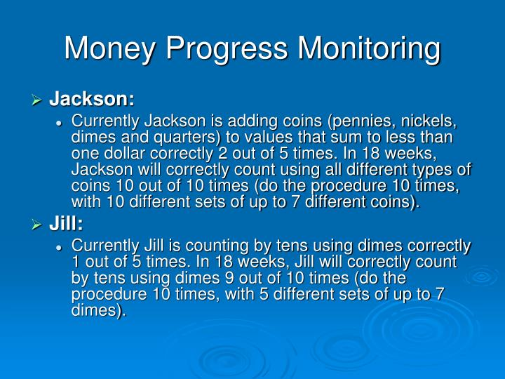 Money Progress Monitoring
