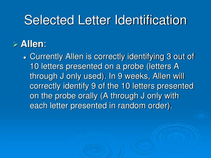 Selected Letter Identification