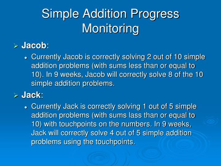 Simple Addition Progress Monitoring