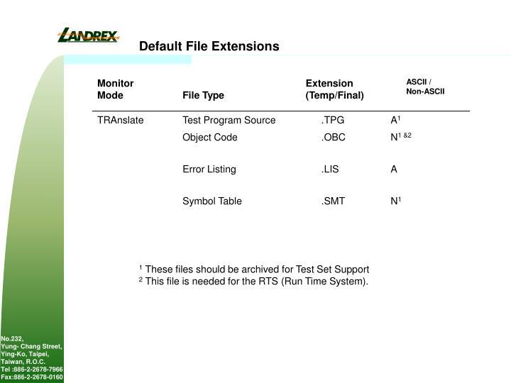 Default File Extensions