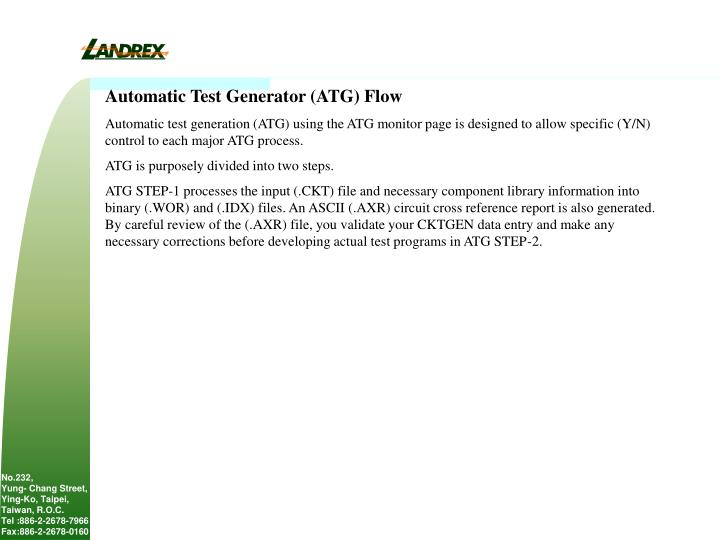 Automatic Test Generator (ATG) Flow