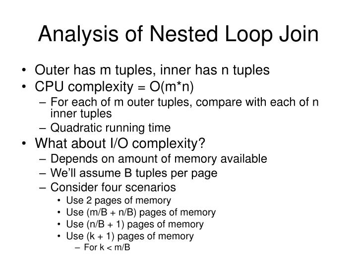 Analysis of Nested Loop Join