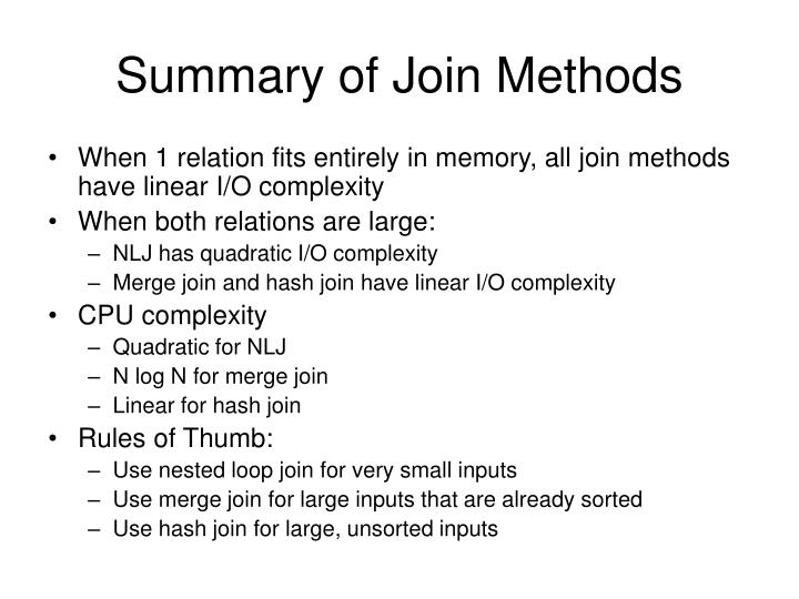 Summary of Join Methods