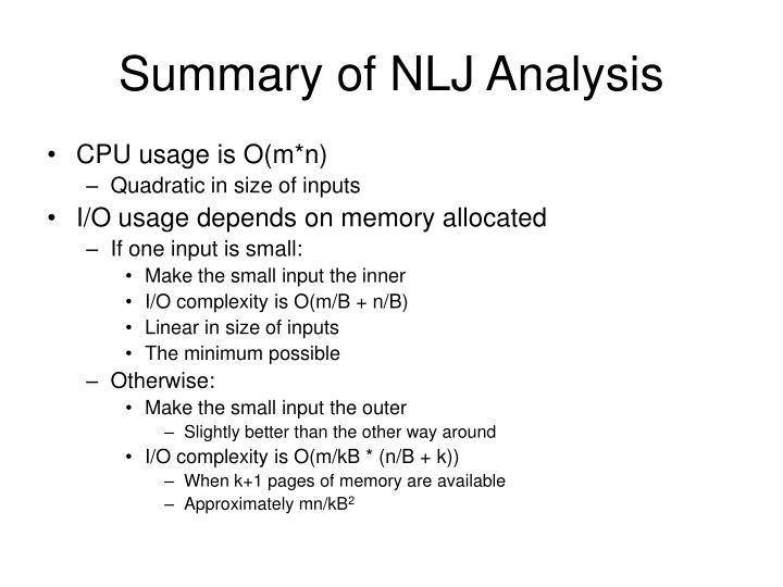 Summary of NLJ Analysis