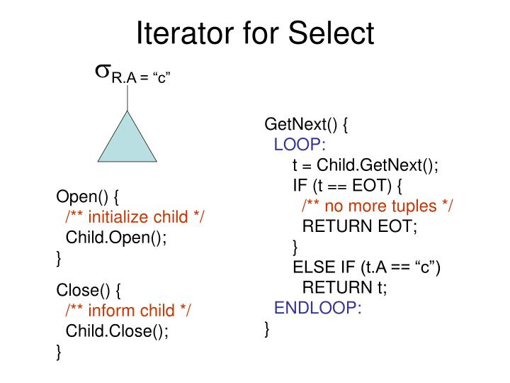 Iterator for Select