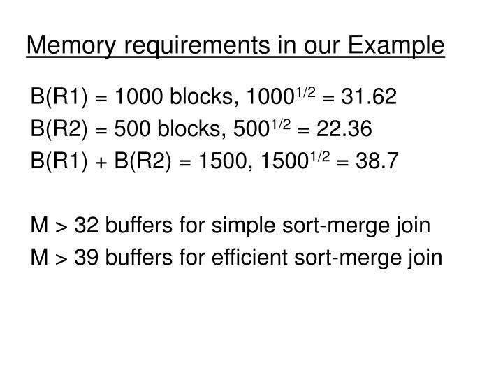 Memory requirements in our Example
